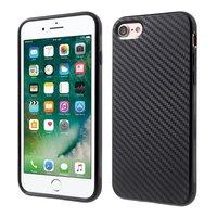 Kohlefaser iPhone 7 8 SE 2020 TPU Hülle mit schwarzem Aufdruck