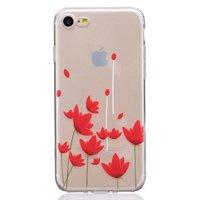TPU Fall iPhone 7 8 SE 2020 Aufdruck Mohn Fall rote Blumen