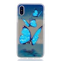 Eisblauer durchscheinender Schmetterling TPU iPhone X XS Hülle