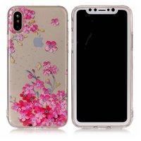 Rosa florale durchscheinende iPhone X XS Hülle Hülle