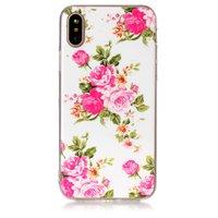 Blumenetui TPU iPhone X XS Rosen weiß rosa Etui