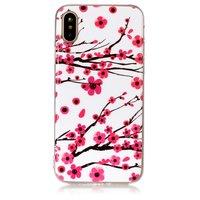 Fall iPhone X XS rote Zweige Blumen Frühling TPU weiß