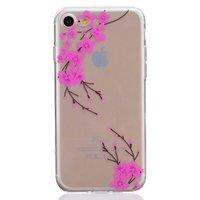 Klare rosa Blume Zweig Silikon iPhone 7 8 SE 2020 Hülle Hülle Abdeckung
