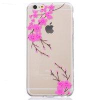 Klare rosa Flower Branch Silikon iPhone 6 6s Hülle Hülle
