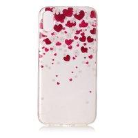 Herz Fall iPhone X XS rosa rot Fall TPU transparent