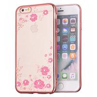Rosa TPU Abdeckung Blumen Schmetterlinge Fall iPhone 6 6s