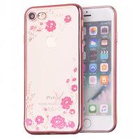 Roségold rosa Blumen iPhone 7 8 SE 2020 TPU Fall Fall Abdeckung