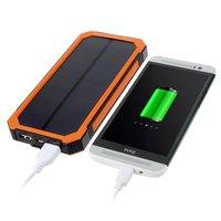 Sun wiederaufladbare orange schwarz Power Bank 10000 mAh Outdoor-Solarbatterie