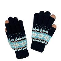 Winter Touchscreen Handschuhe Schneeflocke blaue Wolle