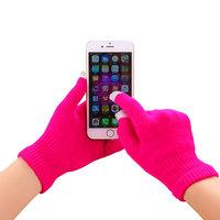 Winter Touchscreen Handschuhe leuchtend rosa Wolle