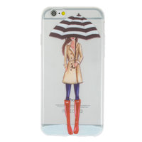 Regenschirm Mädchen TPU Fall iPhone 6 6s - Rote Stiefel Trenchcoat - Transparent