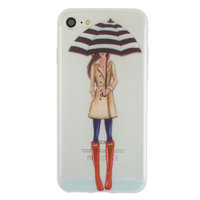 Regenschirm Mädchen TPU Fall iPhone 7 8 SE 2020 - Rote Stiefel Trenchcoat - Transparent