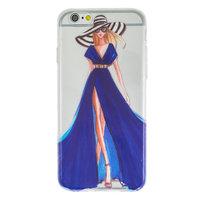 Mädchen Kleid elegante iPhone 6 6s TPU Hülle - Blaue Streifen - Transparent
