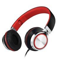 HD200 On-Ear kabelgebundene Stereo-Kopfhörer - Mikrofon Metallic Rot Schwarz
