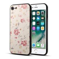 Blumendruck iPhone 7 8 SE 2020 Hybrid TPU PU Ledertasche - Rosa Cremefarbe