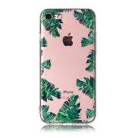 Transparente TPU-Hülle verlässt iPhone 7 8 SE 2020 Hülle Palm Jungle - Green Transparent