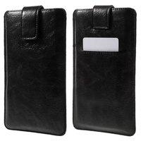 Universelle schwarze Ledereinsatzhülle für iPhone - max. 5 Zoll