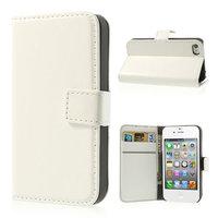 iPhone 4 4s Bücherregal Brieftasche Hülle Leder Brieftasche - Weiß