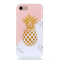 Gold Ananas Marmor Hülle iPhone 7 8 SE 2020 Hülle - Pink White Gold