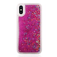 Bewegliche Glitzertasche iPhone X XS - Transparent Pink