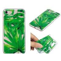 Tropische Blätter bedecken TPU-Hülle für iPhone 7 8 SE 2020 - Transparentes Grün