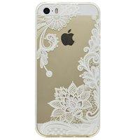 Transparente Hülle Blumenmuster TPU-Abdeckung für iPhone 5 5s SE 2016 - Weiß