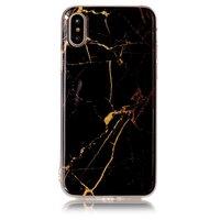 Marmortasche TPU Marmorabdeckung iPhone X XS - Schwarzes Gold