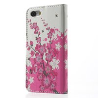 Blossom Bees iPhone 5 5s SE 2016 Kunstleder Brieftasche Bücherregal Hülle - Pink White