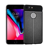 Litchi Grain Leder iPhone 7 Plus 8 Plus TPU Hülle - Schwarz