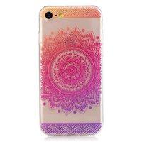 Transparente Mandala iPhone 7 8 SE 2020 TPU Hülle - Pink Purple