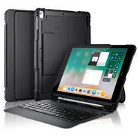 Bluetooth QWERTY Tastaturabdeckung Universal Leather iPad Hülle - Abnehmbare schwarze Tastatur