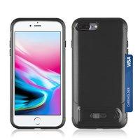 Schieberegler für gebürstetes iPhone 7 Plus 8 Plus TPU-Kunststoff-Hybridgehäuse - Schwarzer Standard