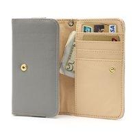 Universal Brieftasche Smartphone Hülle Brieftasche Leder Bücherregal - Grau
