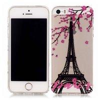 Paris Eiffelturm Blüte TPU Hülle iPhone 5 5s SE 2016 - Transparent Pink Schwarz