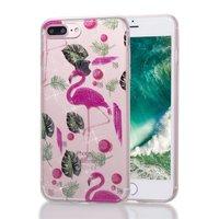 Flamingo Tropical Glitter TPU Hülle für iPhone 7 Plus 8 Plus - Transparent Pink Green