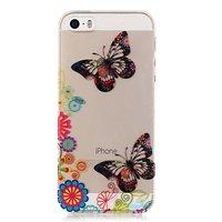 Durchscheinende Schmetterling Blumen TPU iPhone 5 5s SE 2016 Fall - bunt