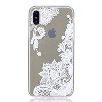 Durchscheinende florale Spitze iPhone X XS TPU Hülle - Weiß