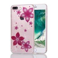 Glitzer Blumenetui TPU iPhone 7 Plus 8 Plus - Transparent Pink