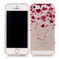 Herzen lieben Blumen Fall TPU iPhone 5 5s SE 2016 - Transparent Red Pink