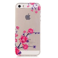Transparente Blütenzweige TPU iPhone 5 5s SE 2016 Hülle - Pink Purple