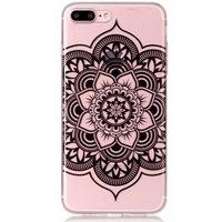 Klare Mandala Flower iPhone 7 Plus 8 Plus TPU Hülle - Schwarz