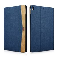 XOOMZ iPad Air 3 (2019) & iPad Pro 10,5 Zoll (2017) Hülle und Bezug Stoff Leder - Blau Braun