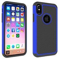 Zweiteilige Hybrid-Kunststoff-Silikonhülle mit iPhone X XS-Nieten - Blau Schwarz