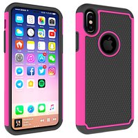 Zweiteilige Hybrid-Kunststoff-Silikon-iPhone X XS-Luftblasenhülle - Pink Black