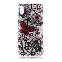 Transparente Spitze Floral Butterfly Case TPU iPhone XR - Schwarz Rot