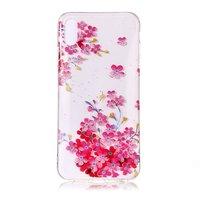 Bunte transparente Blume TPU iPhone XR Hülle - Pink