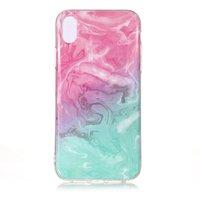 Marmor TPU Hülle Transparent iPhone XR - Blau Pink