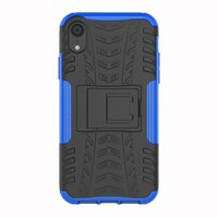 Stoßfeste Autoreifentasche TPU iPhone XR Hülle mit Ständer - Blau