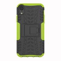 Stoßfeste Autoreifentasche TPU iPhone XR Hülle mit Ständer - Grün