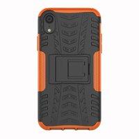 Stoßfeste Autoreifentasche TPU iPhone XR Hülle mit Ständer - Orange